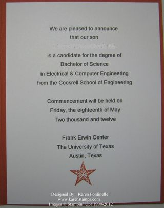 UT Graduation Announcement Inside