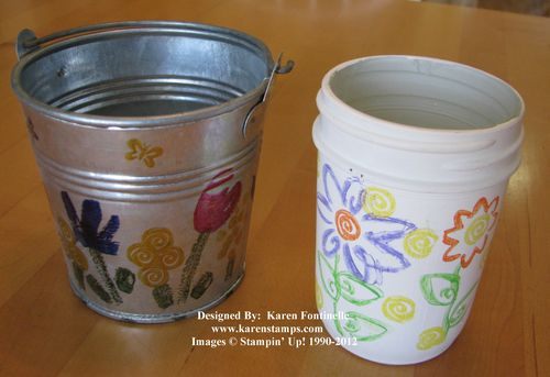 Stamped Tin Bucket and Jar