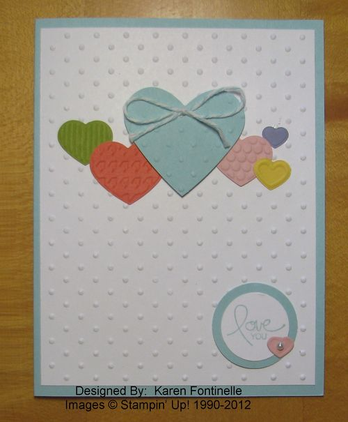 Fashionable Hearts Embossed Valentine Card