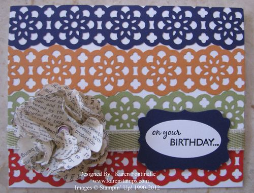 Lace Ribbon Border Punch Birthday Card