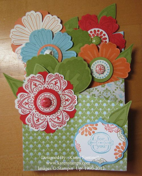 Mother's Day Cascade Mixed Bunch Flower Card Folded