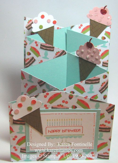 Cascade Cake and Ice Cream Birthday Card