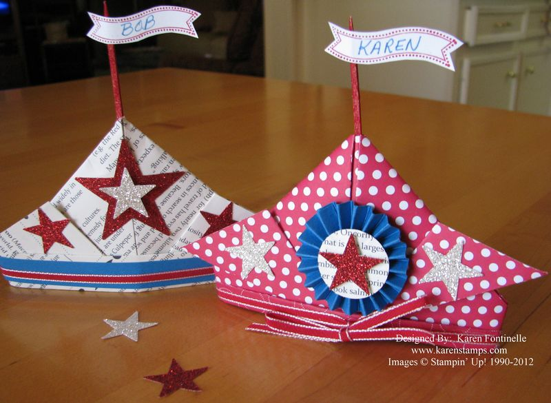 Patriotic 4th of July Place Card Holder Hats