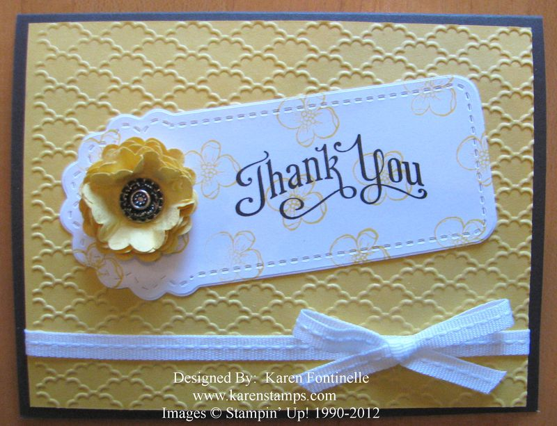 Two Tags Die Scallop Flower Thank You Card