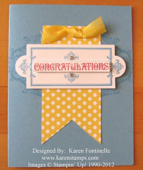 Rubber Stamped Layered Labels Congratulations Card