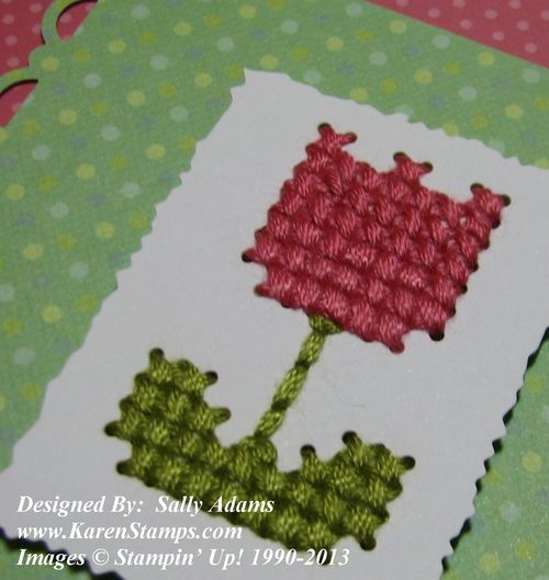 Sweet Threads Simply Sent Card Cross-Stitch Close-up
