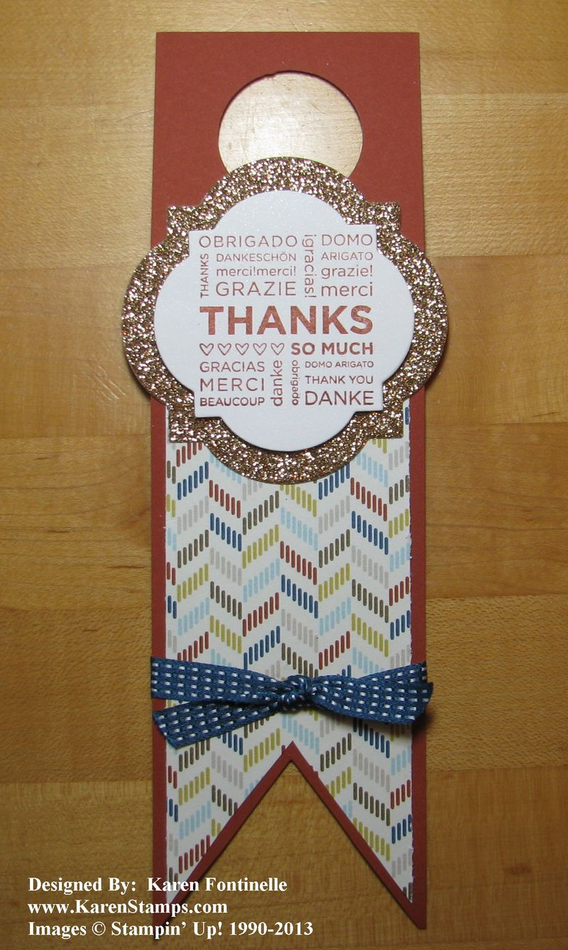 Hostess gift wine bottle tag stamping with karen for How to decorate a wine bottle for a gift