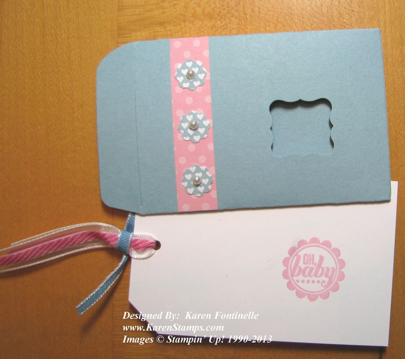 Scallop envelope baby gift card stamping with karen What side of envelope does stamp go on